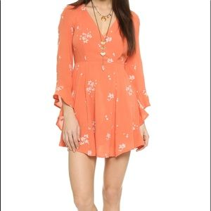 Free People Floral Orange Bell Sleeve Dress
